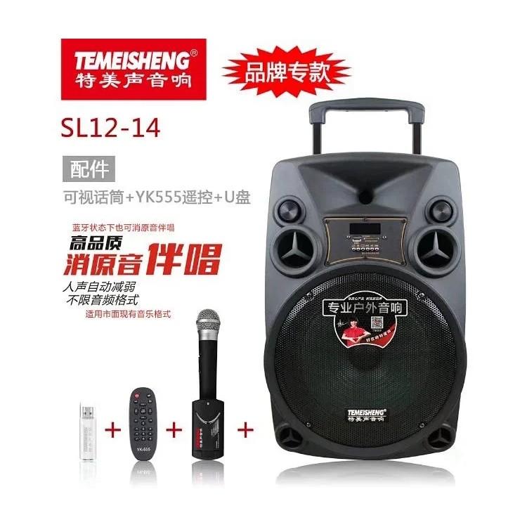 福建厦门 特美声 SL-1214 户外拉杆蓝牙电瓶音响 3.5寸可视话筒K歌开会神器